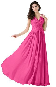 ColsBM Alana Rose Pink Elegant V-neck Sleeveless Zip up Floor Length Ruching Bridesmaid Dresses