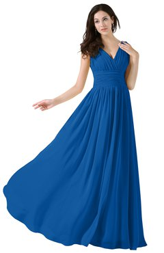 ColsBM Alana Royal Blue Elegant V-neck Sleeveless Zip up Floor Length Ruching Bridesmaid Dresses