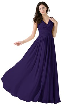 ColsBM Alana Royal Purple Elegant V-neck Sleeveless Zip up Floor Length Ruching Bridesmaid Dresses