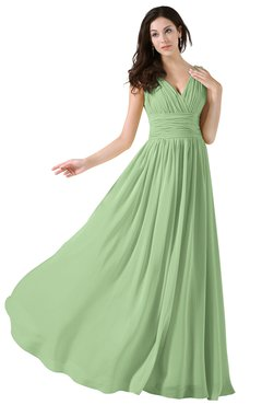 ColsBM Alana Sage Green Elegant V-neck Sleeveless Zip up Floor Length Ruching Bridesmaid Dresses