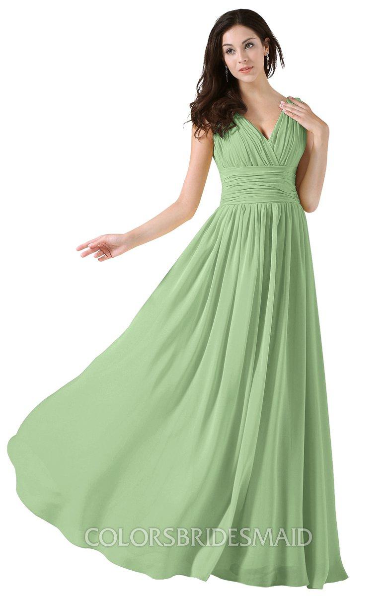50f174bcde2 ColsBM Alana Sage Green Elegant V-neck Sleeveless Zip up Floor Length  Ruching Bridesmaid Dresses