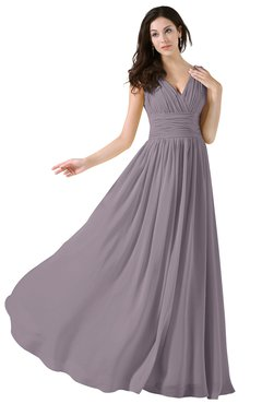 ColsBM Alana Sea Fog Elegant V-neck Sleeveless Zip up Floor Length Ruching Bridesmaid Dresses