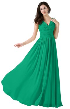 ColsBM Alana Sea Green Elegant V-neck Sleeveless Zip up Floor Length Ruching Bridesmaid Dresses
