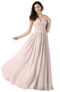 ColsBM Alana Silver Peony Elegant V-neck Sleeveless Zip up Floor Length Ruching Bridesmaid Dresses
