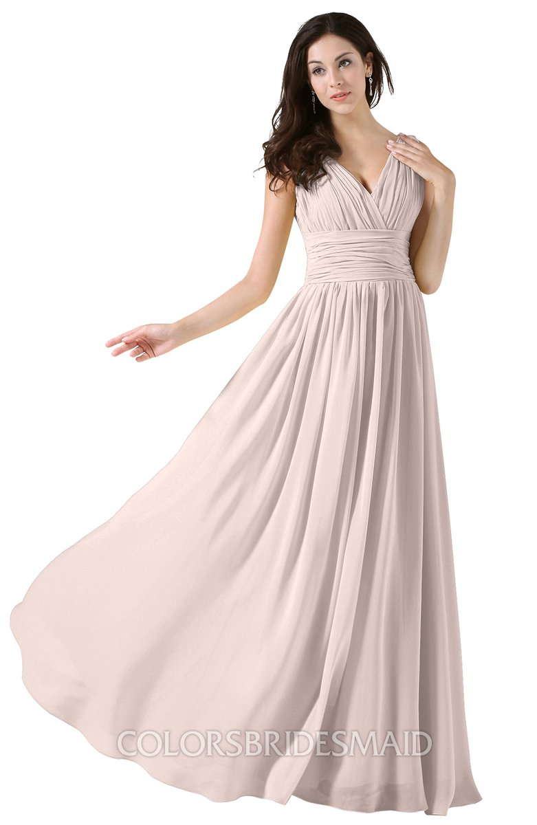 Colsbm Alana Silver Peony Elegant V Neck Sleeveless Zip Up Floor Length Ruching Bridesmaid Dresses