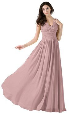 ColsBM Alana Silver Pink Elegant V-neck Sleeveless Zip up Floor Length Ruching Bridesmaid Dresses