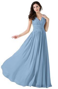 Colsbm Alana Sky Blue Elegant V Neck Sleeveless Zip Up Floor Length Ruching Bridesmaid Dresses