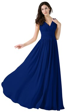 ColsBM Alana Sodalite Blue Elegant V-neck Sleeveless Zip up Floor Length Ruching Bridesmaid Dresses