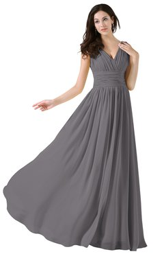 ColsBM Alana Storm Front Elegant V-neck Sleeveless Zip up Floor Length Ruching Bridesmaid Dresses