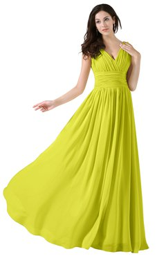 ColsBM Alana Sulphur Spring Elegant V-neck Sleeveless Zip up Floor Length Ruching Bridesmaid Dresses