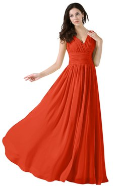 ColsBM Alana Tangerine Tango Elegant V-neck Sleeveless Zip up Floor Length Ruching Bridesmaid Dresses