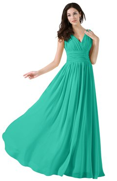 ColsBM Alana Viridian Green Elegant V-neck Sleeveless Zip up Floor Length Ruching Bridesmaid Dresses