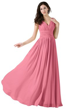 ColsBM Alana Watermelon Elegant V-neck Sleeveless Zip up Floor Length Ruching Bridesmaid Dresses