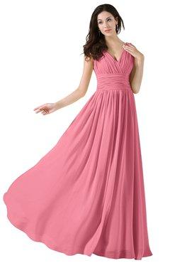 ColsBM Alana Watermelon Elegant V-neck Sleeveless Zip up Floor Length Ruching Bridesmaid Dresses