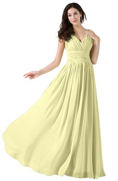 ColsBM Alana Wax Yellow Elegant V-neck Sleeveless Zip up Floor Length Ruching Bridesmaid Dresses