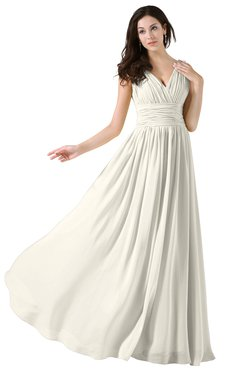 ColsBM Alana Whisper White Elegant V-neck Sleeveless Zip up Floor Length Ruching Bridesmaid Dresses