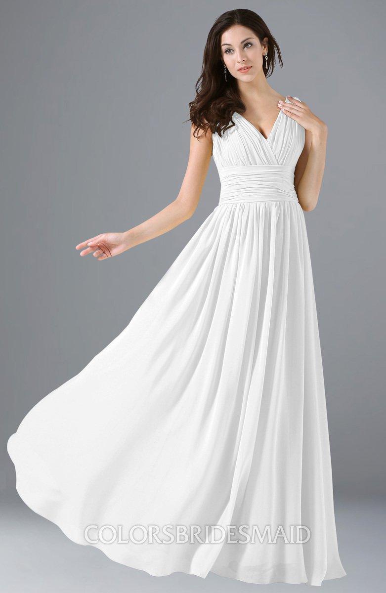 2fcafdb4db0 ColsBM Alana White Elegant V-neck Sleeveless Zip up Floor Length Ruching  Bridesmaid Dresses