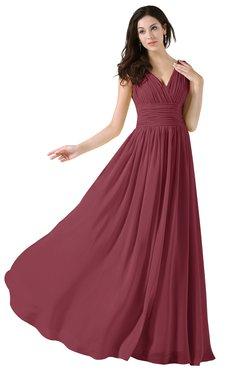 ColsBM Alana Wine Elegant V-neck Sleeveless Zip up Floor Length Ruching Bridesmaid Dresses