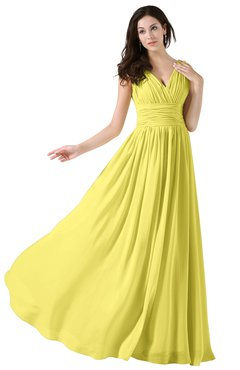 Colsbm Alana Yellow Iris Elegant V Neck Sleeveless Zip Up Floor Length Ruching Bridesmaid Dresses