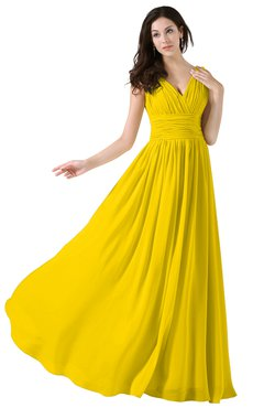 ColsBM Alana Yellow Elegant V-neck Sleeveless Zip up Floor Length Ruching Bridesmaid Dresses