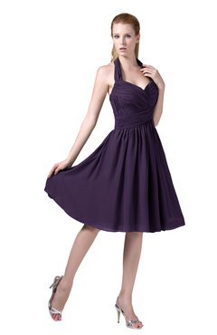 7b66f8c2d36 ColsBM Corinne Blackberry Cordial Modest Sleeveless Zip up Chiffon Knee  Length Ruching Party Dresses