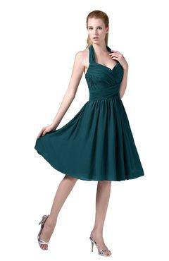 b13e67bd391 ColsBM Corinne Blue Green Modest Sleeveless Zip up Chiffon Knee Length  Ruching Party Dresses