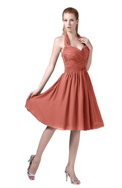 ColsBM Corinne Crabapple Modest Sleeveless Zip up Chiffon Knee Length Ruching Party Dresses