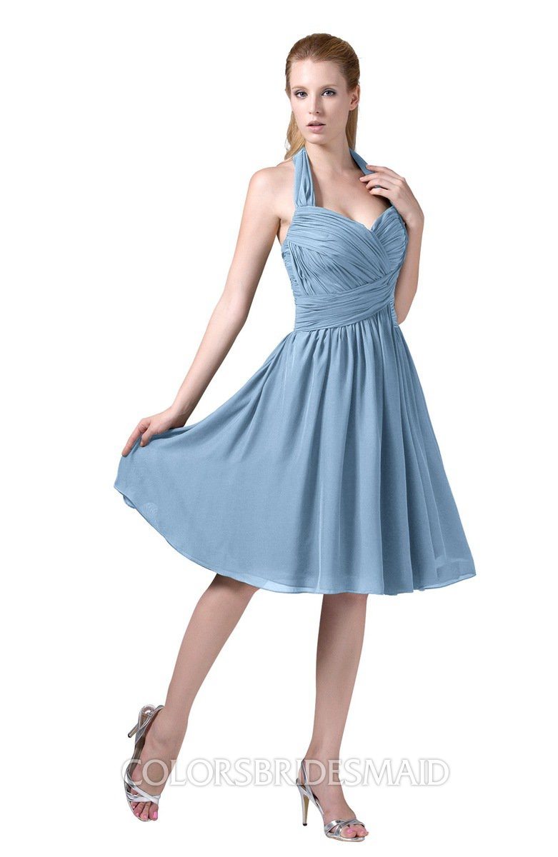 afb10bc7626 ColsBM Corinne Dusty Blue Modest Sleeveless Zip up Chiffon Knee Length  Ruching Party Dresses