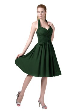 ColsBM Corinne Hunter Green Modest Sleeveless Zip up Chiffon Knee Length Ruching Party Dresses