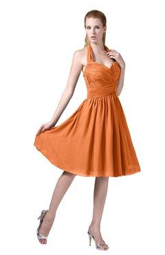ColsBM Corinne Mango Modest Sleeveless Zip up Chiffon Knee Length Ruching Party Dresses