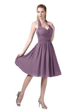ColsBM Corinne Mauve Modest Sleeveless Zip up Chiffon Knee Length Ruching Party Dresses