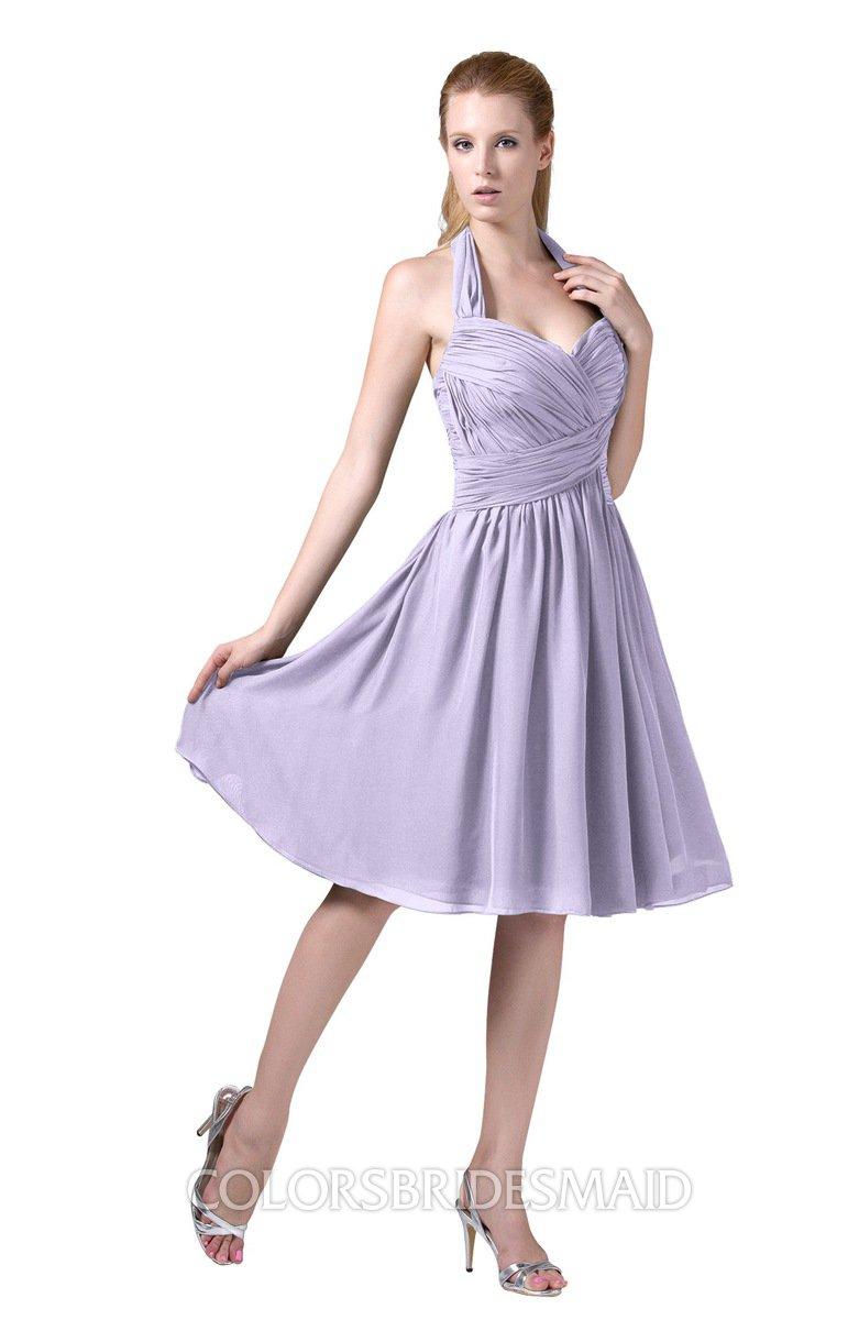 e16be1ed49ff2 ColsBM Corinne Pastel Lilac Modest Sleeveless Zip up Chiffon Knee Length  Ruching Party Dresses