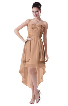ColsBM Victoria Almost Apricot Hawaiian A-line Sleeveless Chiffon Tea Length Ruching Evening Dresses