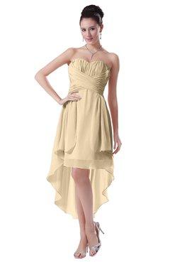 ColsBM Victoria Apricot Gelato Hawaiian A-line Sleeveless Chiffon Tea Length Ruching Evening Dresses