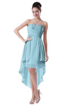 ColsBM Victoria Aqua Hawaiian A-line Sleeveless Chiffon Tea Length Ruching Evening Dresses
