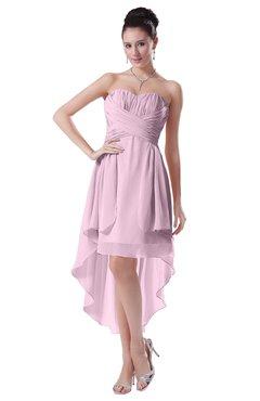 ColsBM Victoria Baby Pink Hawaiian A-line Sleeveless Chiffon Tea Length Ruching Evening Dresses