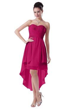 ColsBM Victoria Beetroot Purple Hawaiian A-line Sleeveless Chiffon Tea Length Ruching Evening Dresses