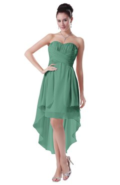 ColsBM Victoria Beryl Green Hawaiian A-line Sleeveless Chiffon Tea Length Ruching Evening Dresses