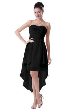 ColsBM Victoria Black Hawaiian A-line Sleeveless Chiffon Tea Length Ruching Evening Dresses