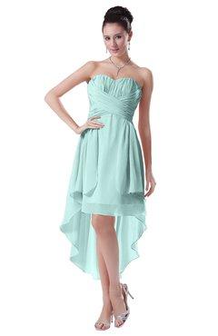 ColsBM Victoria Blue Glass Hawaiian A-line Sleeveless Chiffon Tea Length Ruching Evening Dresses