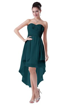 ColsBM Victoria Blue Green Hawaiian A-line Sleeveless Chiffon Tea Length Ruching Evening Dresses