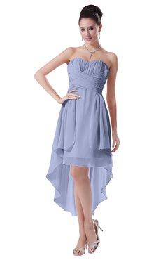ColsBM Victoria Blue Heron Hawaiian A-line Sleeveless Chiffon Tea Length Ruching Evening Dresses