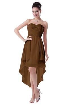 ColsBM Victoria Brown Hawaiian A-line Sleeveless Chiffon Tea Length Ruching Evening Dresses