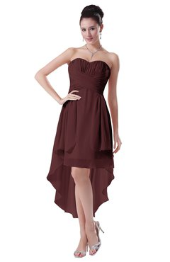 ColsBM Victoria Burgundy Hawaiian A-line Sleeveless Chiffon Tea Length Ruching Evening Dresses