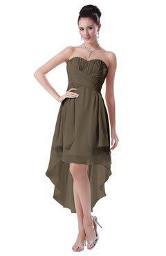 ColsBM Victoria Carafe Brown Hawaiian A-line Sleeveless Chiffon Tea Length Ruching Evening Dresses