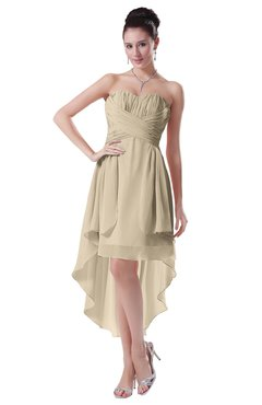 ColsBM Victoria Champagne Hawaiian A-line Sleeveless Chiffon Tea Length Ruching Evening Dresses