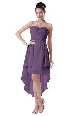 ColsBM Victoria Chinese Violet Hawaiian A-line Sleeveless Chiffon Tea Length Ruching Evening Dresses