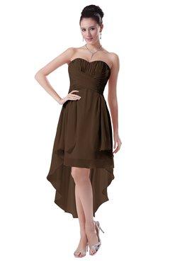 ColsBM Victoria Chocolate Brown Hawaiian A-line Sleeveless Chiffon Tea Length Ruching Evening Dresses