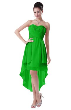 ColsBM Victoria Classic Green Hawaiian A-line Sleeveless Chiffon Tea Length Ruching Evening Dresses