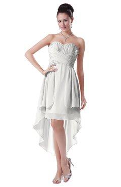 ColsBM Victoria Cloud White Hawaiian A-line Sleeveless Chiffon Tea Length Ruching Evening Dresses